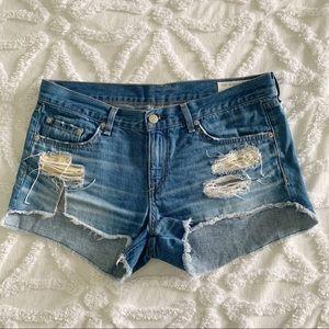 Rag & Bone Distressed Denim Blue Jean  Shorts